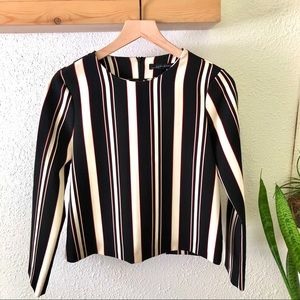 Zara black cream maroon striped top NWOT